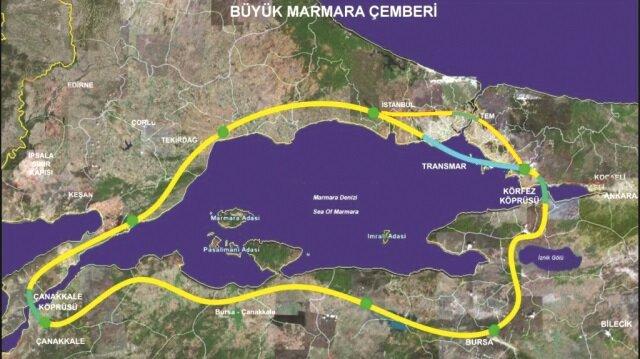 Çanakkale Boğazı'nın inşaa edilmesiyle Marmara Denizi etrafı bir otoyol ringine dönüşecek.