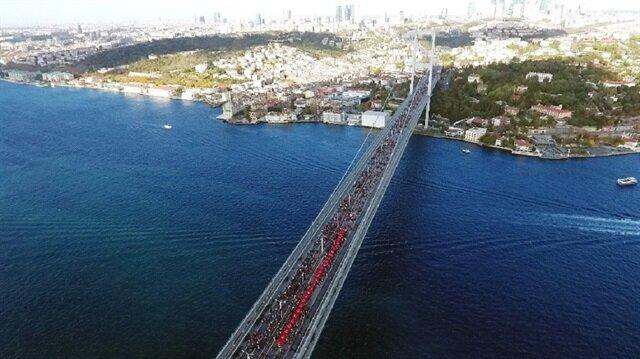 Maraton havadan görüntülendi