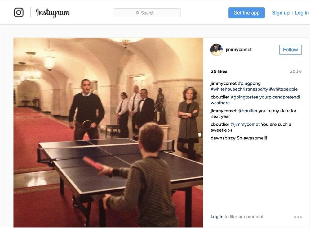 Alefantis shared a picture of Obama playing ping pong with a kid.