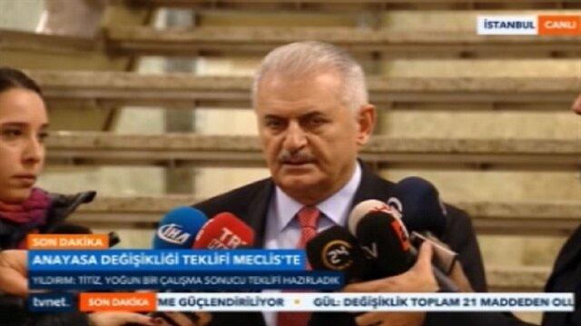 Başbakan Yıldırımdan anayasa teklifiyle ilgili ilk açıklama