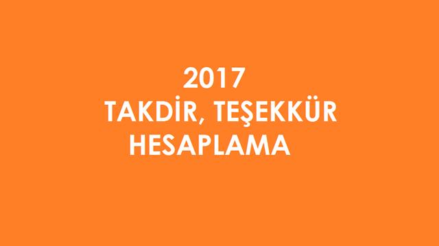 Takdir Teşekkür Hesaplama 2017 Takdir Teşekkür Hesaplama Işlemi
