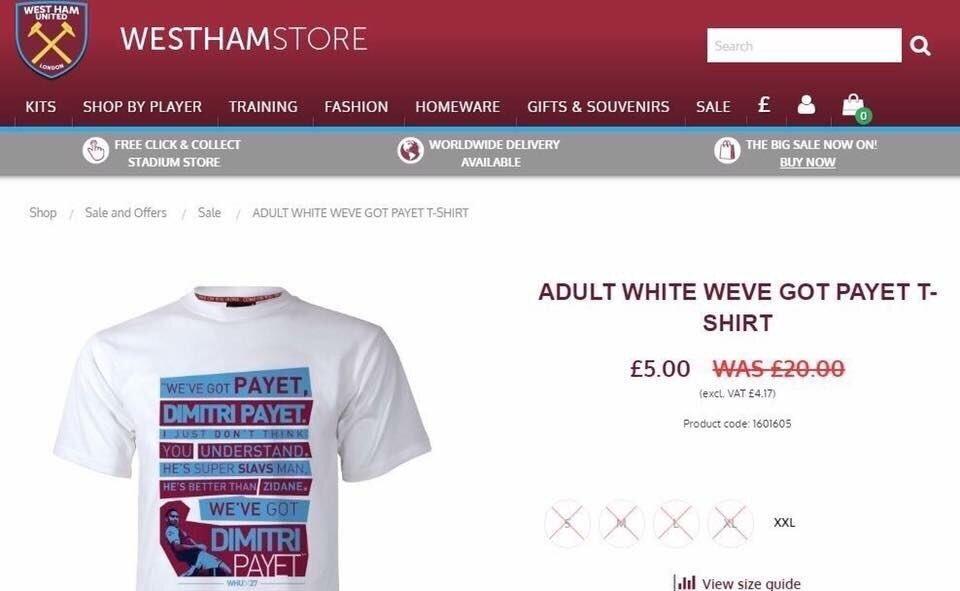 West Ham United Kulübü, takımdan ayrılmak isteyen Payet'in tişörtlerinin fiyatında indirime gitti.