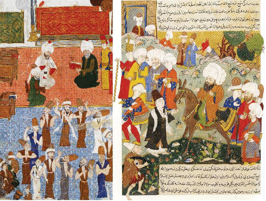 Mevlana'nın huzurunda bir Osmanlı Paşası Lala Mustafa Paşa'nın Doğu Seferi sırasında Konya'daki Mevlana türbesini ziyaretinde dervişlerin semaını gösteren bu minyatür, Konya'daki tasavvuf geleneğine dair önemli izler taşıyor. İki denizin karşılaşması Konya ilim iklimini oluşturan en önemli isimlerden Mevlana ile Şems'in karşılaşmasını gösteren bu Osmanlı minyatürü, türünün en değerli örneklerinden birini oluşturuyor.