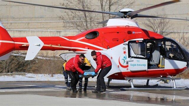 Ambulans helikopterle hastaneye ulaştırıldı.