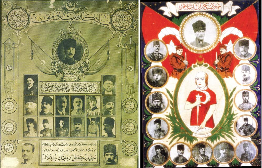 Misak-ı Millî çağrısı Halkı Kurtuluş Savaşı'na davet eden bu el işi duvar ilanında, üstte 'Halâskâran-ı İslam' (İslam'ın Kurtarıcıları), altta ise 'Misak-ı Millî' yazısı görülüyor. Türk bayrağına sarılı kadın, elindeki kama ve sol işaret parmağıyla Misak-ı Millî hedeflerini gösteriyor. Çevresinde ise zafere imza atan devlet adamları ve paşalar sıralanmış.