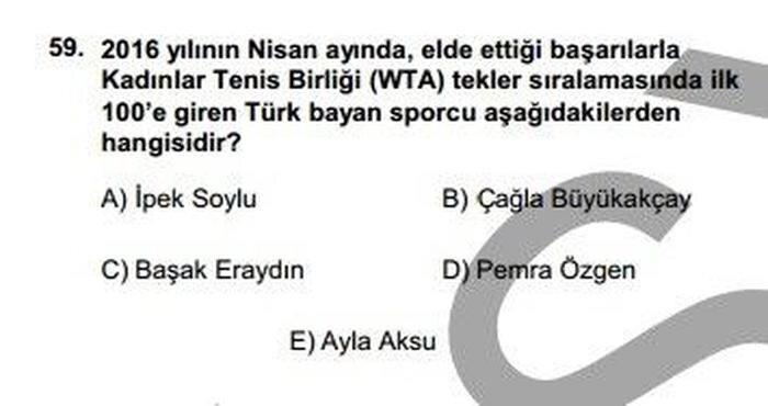 Milli tenisçimiz Çağla Büyükakçay'ın başarısı 22 Mayıs 2016'da yapılan KPSS sınavında yer almıştı.