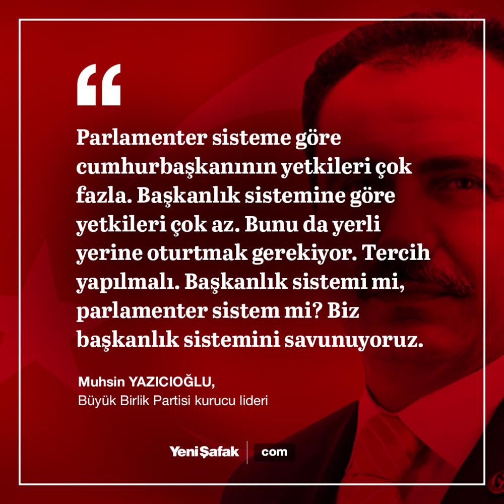 BBP'nin kurucu lideri Muhsin Yazıcıoğlu Başkanlık sistemini savunuyordu.