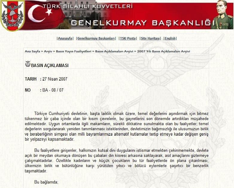 """Genelkurmay Başkanlığı internet sitesinde literatüre """"e-muhtıra"""