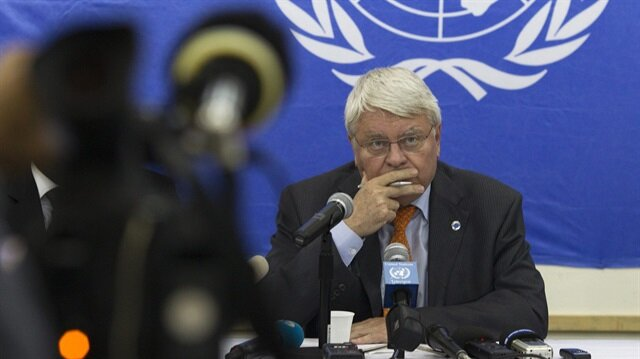 U.N. peacekeeping chief Herve Ladsous listens to questions from journalists