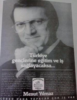 1991 ANAP seçim kampanyasından bir gazete ilanı.