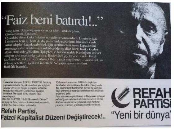 1991 RP seçim kampanyasından bir gazete ilanı.