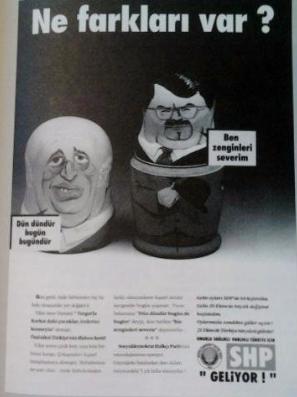 1991 SHP seçim kampanyasından bir gazete ilanı.