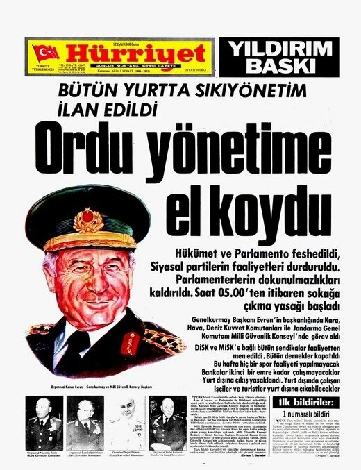 Hürriyet'in 12 Eylül manşeti.