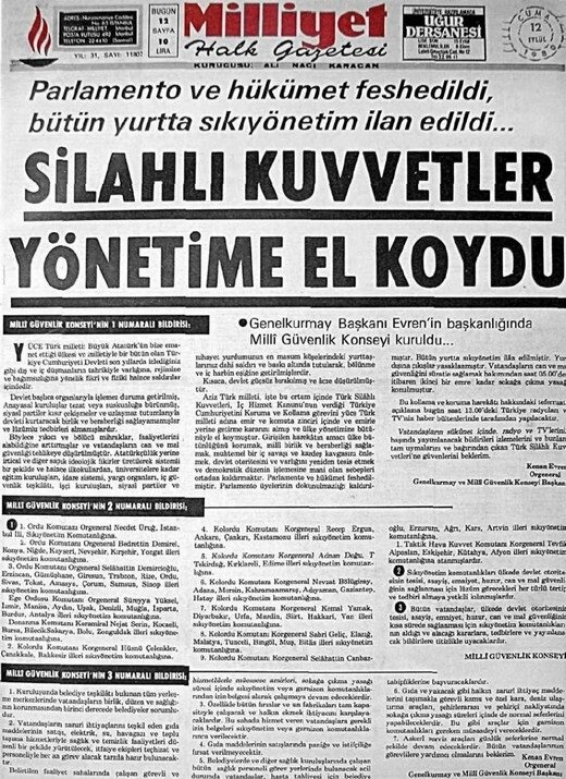 Milliyet'in 12 Eylül manşeti.