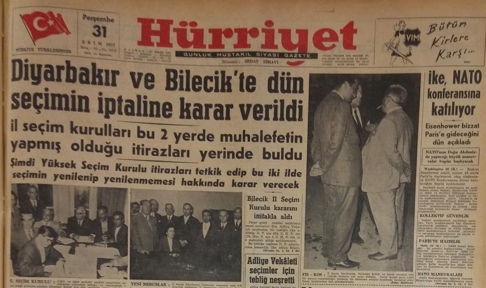 Hürriyet gazetesinin seçim sonuçlarına yapılan itirazlarla ilgili manşet haberi.