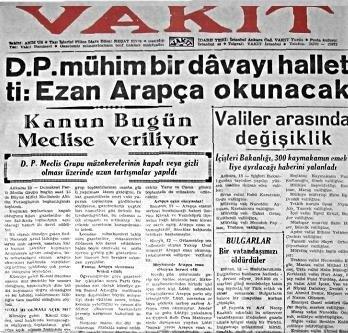 Vakit gazetesinin Türkçe ezan haberi.