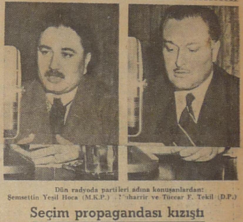 1950 seçimiyle ilgili gazete haberi.