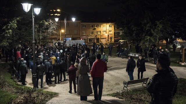 A protest in front of the headquarter of the Ülker food company in Istanbul