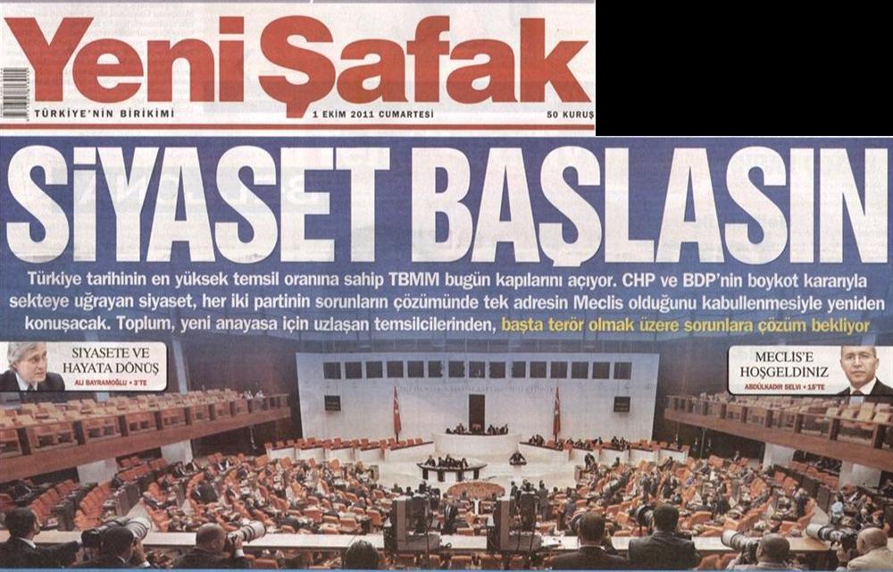 Meclis'in açıldığı gün Yeni Şafak gazetesinin manşeti.