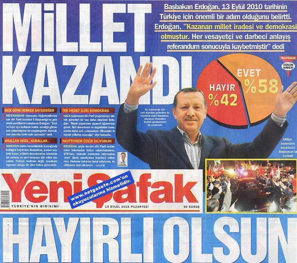 Yeni Şafak gazetesinin manşeti.