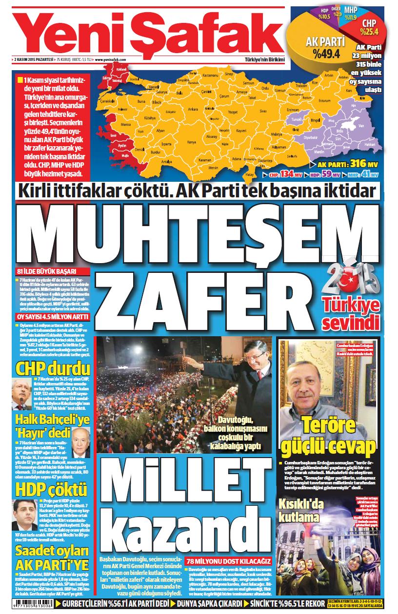 Yeni Şafak gazetesi manşeti.