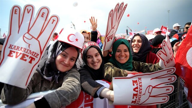 The 'Great Istanbul Rally' has drawn millions of citizens waving Turkish flags and 'Yes' signs.