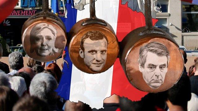 Fransa'da yarın yapılacak seçimlerde aşırı sağın lideri Le Pen, Emannuel Macron ve François Fillon öne çıkıyor.