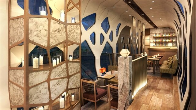 The lounge of the Japanese luxury sleeper train