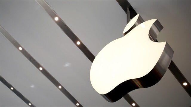 The Apple logo is pictured inside the newly opened Omotesando Apple store