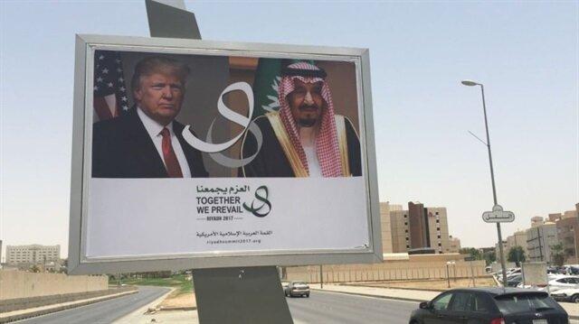 ABD Başkanı Donald Trump'ın Riyad ziyareti öncesi sokaklara afişler asıldı.