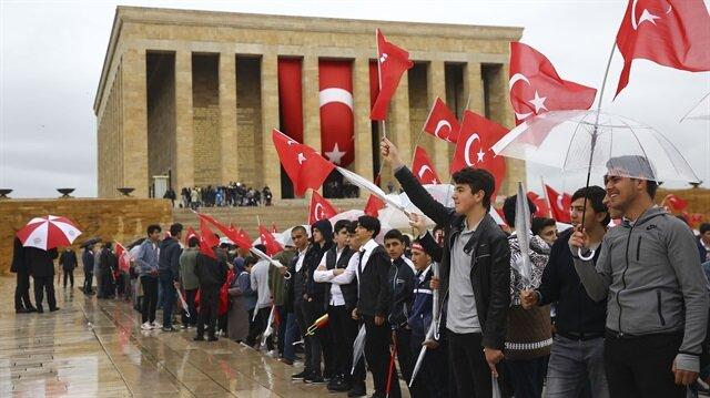 19 Mayıs Atatürk'ü Anma, Gençlik ve Spor Bayramı kutlamaları çerçevesinde Anıtkabir'de tören düzenlendi.