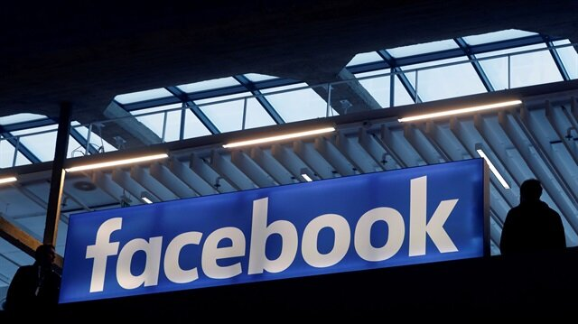Facebook logo is seen at a start-up companies gathering at Paris' Station