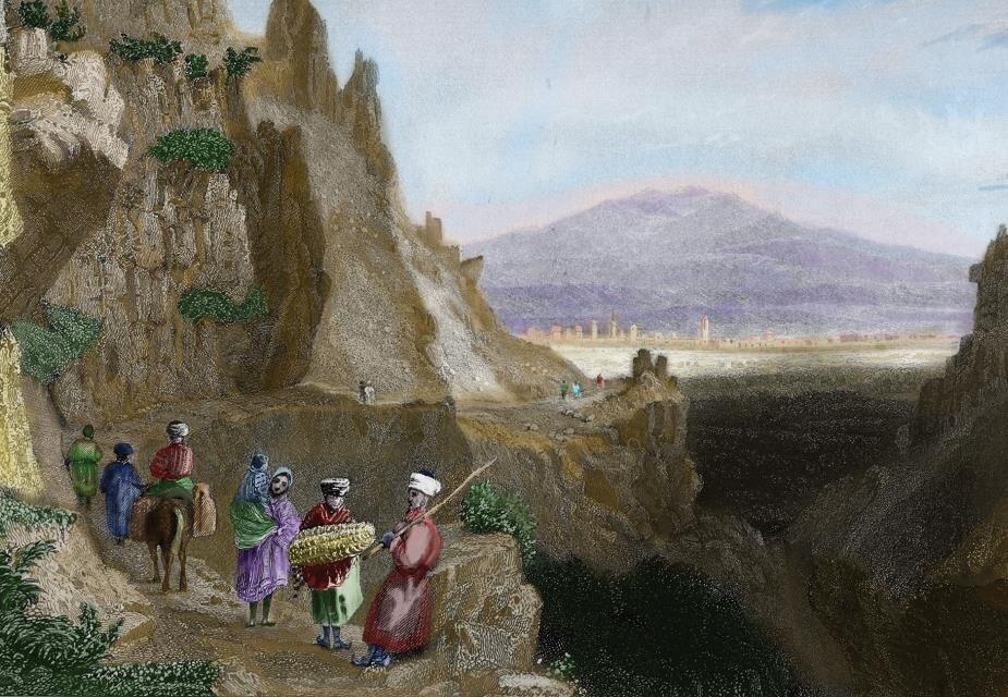 W. H. Bartlet'e ait bu gravürde Halep yolu üzerinden eski Antakya görülüyor. 12 Aralık 1084 günü Selçuklu kuvvetleri şehre girmiş, iç kale bir aylık kuşatmanın ardından teslim olmuştu.