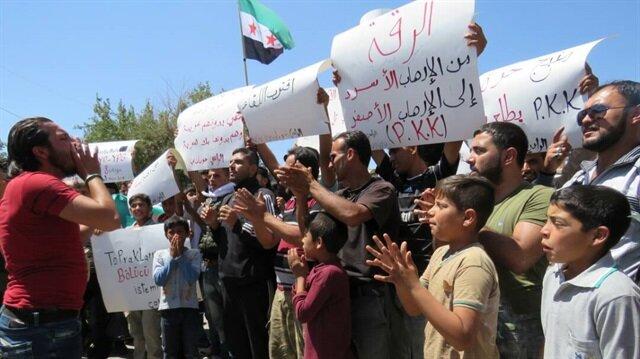 Suriye'de terör örgütü PYD/YPG'ye karşı protesto gösterisi