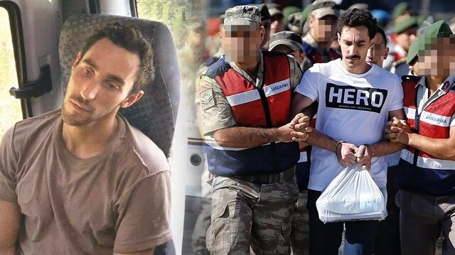 Gökhan Güçlü'nün 15 Temmuz'un hemen ardından gizlendiği çukurda yakalandığı hali ve duruşmada giydiği 'hero' tişörtü.