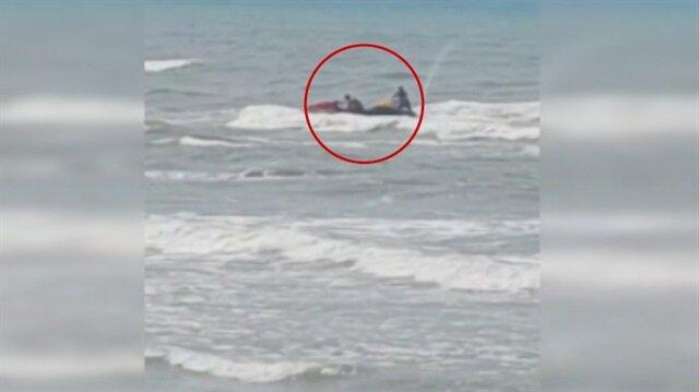 Boğulan vatandaşı jet ski ile kurtardılar