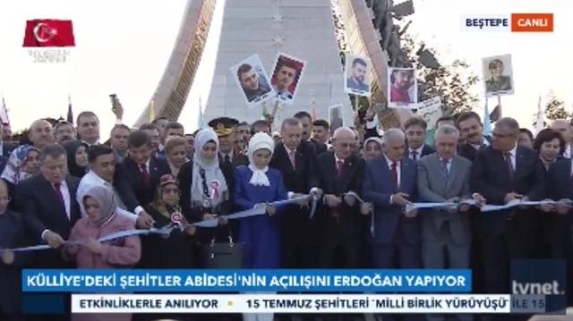 Erdoğan 15 Temmuz Şehitler Abidesinin açılışını yaptı