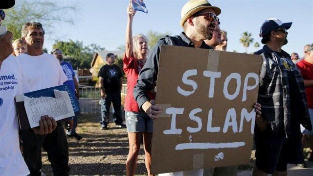 ABD'de İslam karşıtı düzenlenen bir gösteri.  Arşiv