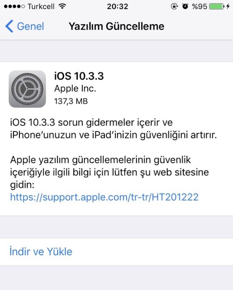 iphone 6 yazılım güncelleme menüsü yok
