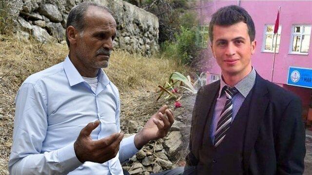 Şehit öğretmen Necmettin Yılmaz'ın babası oğlunun mezarı başında dua etti.