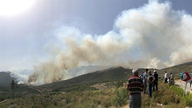 İzmir'deki orman yangını söndürme çalışmaları devam ediyor