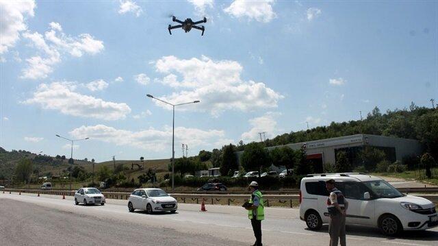Ekipler, kural ihlallerinin önüne geçmek ve kazaları önlemek için drone ile kontrollere başladı.