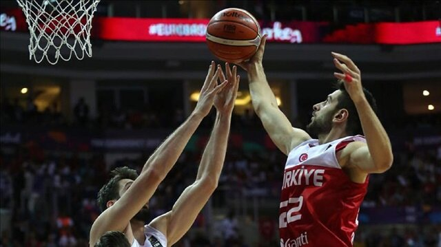 Furkan Korkmaz (22) of Turkey in action during FIBA Eurobasket 2017 Group D Men's basketball match between Latvia and Turkey at Ulker Sports Arena in Istanbul, Turkey on September 07, 2017.