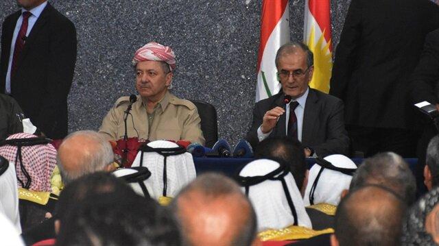 IKBY Başkanı Barzani, Kerkük Valisi Necmettin Kerim ile birlikte referandum toplantısına katıldı.