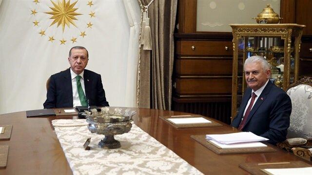 Cumhurbaşkanı Erdoğan, Başbakan Yıldırım'ı kabul etti.