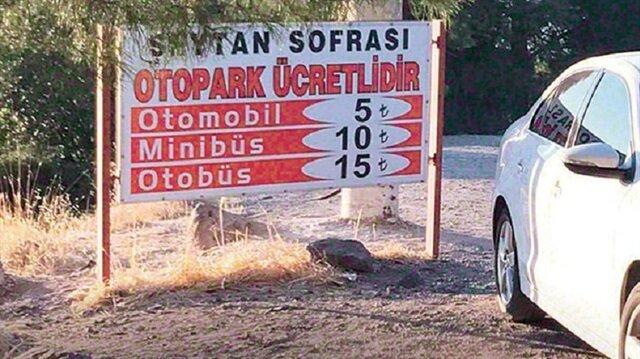 Balıkesir'in Ayvalık İlçesi'nin simgesi Şeytan Sofrası otopark alanı.