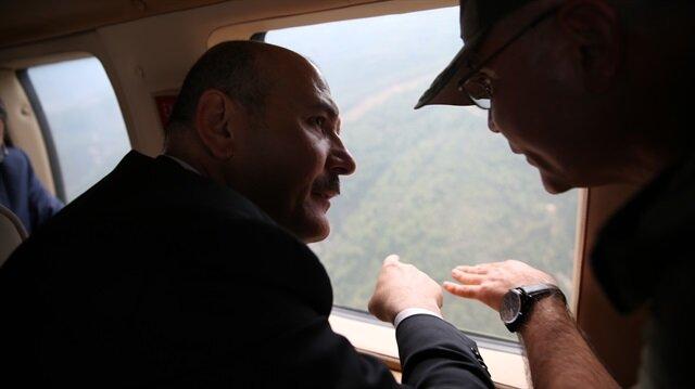 Süleyman Soylu helikopterle Amanos Dağları'nı inceledi