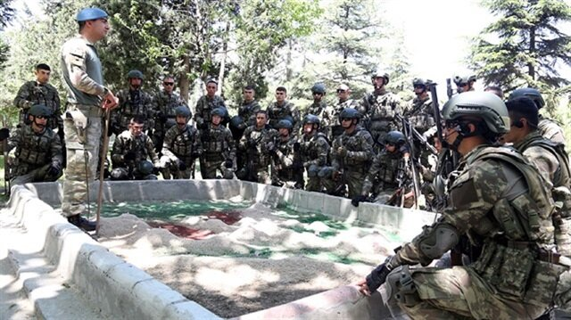 """A photo of the training of contracted private soldiers, the """"professional"""" force of counterterrori"""