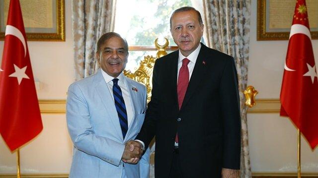 Cumhurbaşkanı Erdoğan, Şahbaz Şerif'i kabul etti.