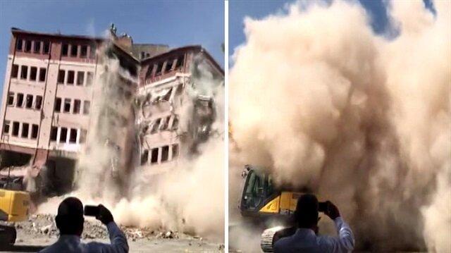 48 yıllık bina saniyeler içinde böyle yıkıldı
